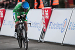 Green Jersey Giacomo Nizzolo (ITA) NTT Pro Cycling Team in action during Stage 4 of the 78th edition of Paris-Nice 2020, and individual time trial running 15.1km around Saint-Amand-Montrond, France. 11th March 2020.<br /> Picture: ASO/Fabien Boukla | Cyclefile<br /> All photos usage must carry mandatory copyright credit (© Cyclefile | ASO/Fabien Boukla)