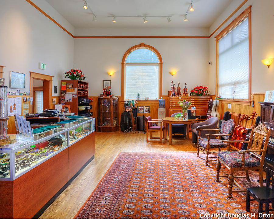 Lobby of custom violin shop in Seattle, Washington, USA