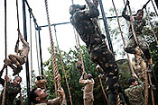 Commandoes undergo endurance training at the Counter Terrorism and Jungle Warfare College in Kanker, Chhattisgarh, India. Photograph by Sanjit Das/Panos for The Times.