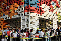 Queues line up to visit an exhibit at the Shanghai World Expo.