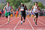 Desert Pines' Eric Wilkes wins the Division IA boys 100-meter dash with a time of 10.92 seconds during the NIAA state track and field championships at Carson High, in Carson City, Nev., on Friday, May 23, 2014. (Las Vegas Review-Journal, Cathleen Allison)