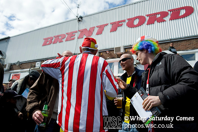 Brentford 0 Doncaster Rovers 1, 27/04/2013. Griffin Park, League One. Griffin Park hosts a showdown between two clubs aiming for automatic promotion from League One. Brentofrd fans in fancy dress gather before the game. Photo by Simon Gill.