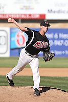 Brett Shankin # 23 of the High Desert Mavericks pitches against the Rancho Cucamonga Quakes at Stater Bros. Stadium on May 27, 2014 in Adelanto, California. High Desert defeated Rancho Cucamonga, 5-4. (Larry Goren/Four Seam Images)