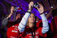 Moscow, Russia, 25/09/2010..Austrian fans at the finals of the Karaoke World Championships 2010, where amateur singers from around the world competed for prizes that included one million Russian dumplings.