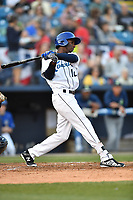 Asheville Tourists right fielder Ramon Marcelino (12) swings at a pitch during a game against the Columbia Fireflies at McCormick Field on April 13, 2018 in Asheville, North Carolina. The Tourists defeated the Fireflies 5-1. (Tony Farlow/Four Seam Images)