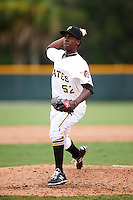 GCL Pirates relief pitcher Francis Rodriguez (52) during a game against the GCL Phillies on August 6, 2016 at Pirate City in Bradenton, Florida.  GCL Phillies defeated the GCL Pirates 4-1.  (Mike Janes/Four Seam Images)