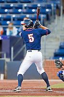 Mitchell Shiflett #5 of the Virginia Cavaliers at bat against the Duke Blue Devils at Durham Bulls Athletic Park on April 20, 2012 in Durham, North Carolina.  The Blue Devils defeated the Cavaliers 6-3.  (Brian Westerholt/Four Seam Images)