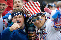 USA fans. The USA defeated Honduras, 2-1, in a World Cup qualifying match at Soldier Field in Chicago, IL on June 6, 2009.