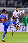 Sayed Dhiya Saeed of Bahrain (R) fights for the ball with Pritam Kotal of India (L) during the AFC Asian Cup UAE 2019 Group A match between India (IND) and Bahrain (BHR) at Sharjah Stadium on 14 January 2019 in Sharjah, United Arab Emirates. Photo by Marcio Rodrigo Machado / Power Sport Images