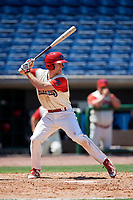 Clearwater Threshers third baseman Luke Williams (9) at bat during a game against the Jupiter Hammerheads on April 11, 2018 at Spectrum Field in Clearwater, Florida.  Jupiter defeated Clearwater 6-4.  (Mike Janes/Four Seam Images)