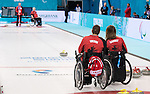 Sochi, RUSSIA - Mar 7 2014 -  Mark Ideson and Sonja Gaudet of Canada's Wheelchair Curling Team trains before the Sochi 2014 Paralympic Winter Games in Sochi, Russia.  (Photo: Matthew Murnaghan/Canadian Paralympic Committee)