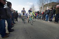 3 Days of De Panne.stage 1: Middelkerke - Zottegem, 200km..teammates Kris Boeckmans (BEL) &  Lieuwe Westra (NLD) up the Berendries