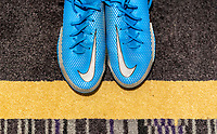 ORLANDO, FL - FEBRUARY 24: Nike shoes sit in the locker room before a game between Argentina and USWNT at Exploria Stadium on February 24, 2021 in Orlando, Florida.