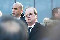 November 13 2017, PARIS FRANCE<br /> the President of France Emmanuel Macron<br /> honors the victims of the 13 november 2015<br /> in the scenes of attacks. the ex President François Hollande is present. # HOMMAGE AUX VICTIMES DES ATTENTATS DU 13 NOVEMBRE 2015