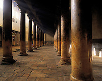The pillared interior of the Church of the Nativity, Bethlehem, Israel. The Church is believed to be built on the birthplace of Jesus