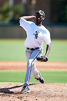 Chicago White Sox minor league pitcher Jose Brito #61 during an instructional league game against the Los Angeles Dodgers at the Camelback Training Complex on October 9, 2012 in Glendale, Arizona.  (Mike Janes/Four Seam Images)