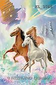 Interlitho, Luis, FANTASY, paintings, 3 horses, universe, KL, KL3586,#fantasy# illustrations, pinturas
