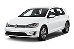 2019 Volkswagen e-Golf SEL Premium 5 Door Hatchback angular front stock photos of front three quarter view