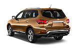 Car pictures of rear three quarter view of 2018 Nissan Pathfinder Platinum 5 Door SUV Angular Rear