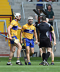 Patrick O Connor of Clare reacts during their All-Ireland quarter final against Wexford at Pairc Ui Chaoimh. Photograph by John Kelly.