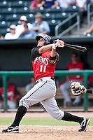 Kris Negron (11) of the  Carolina Mudcats during a game vs. the Jacksonville Suns May 31 2010 at Baseball Grounds of Jacksonville in Jacksonville, Florida. Jacksonville won the game against Carolina by the score of 3-2. Photo By Scott Jontes/Four Seam Images