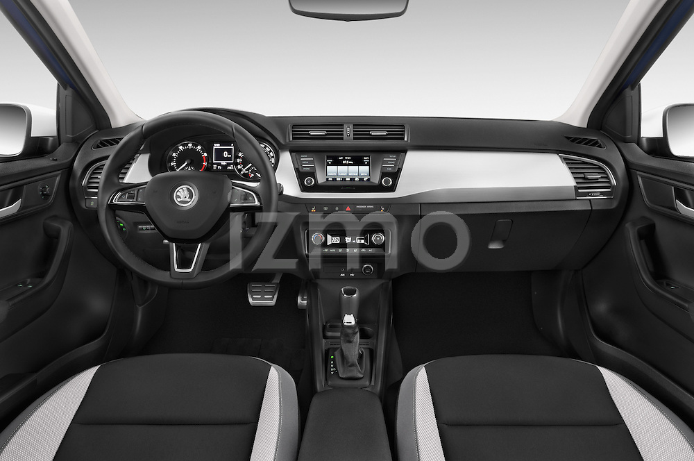 Stock photo of straight dashboard view of 2015 Skoda Fabia Ambition 5 Door Hatchback Dashboard