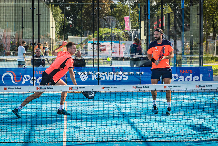 Netherlands, September 6,  2020, Amsterdam, Padel Dam, NK Padel, National Padel Championships, Men's doubles final: Uriël Maarsen (NED) and Bram Meijer (NED) (R)<br /> Photo: Henk Koster/tennisimages.com