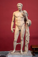 """Athens archeological museum """"the atalante Hermes"""" Pentelic marble funerary statue of a youth depicted in the form of god Hermes  . Clamys over his shoulder.In his left hand he will have held the caduceus  2nd c; AD  copying Lysippean carachteristics"""