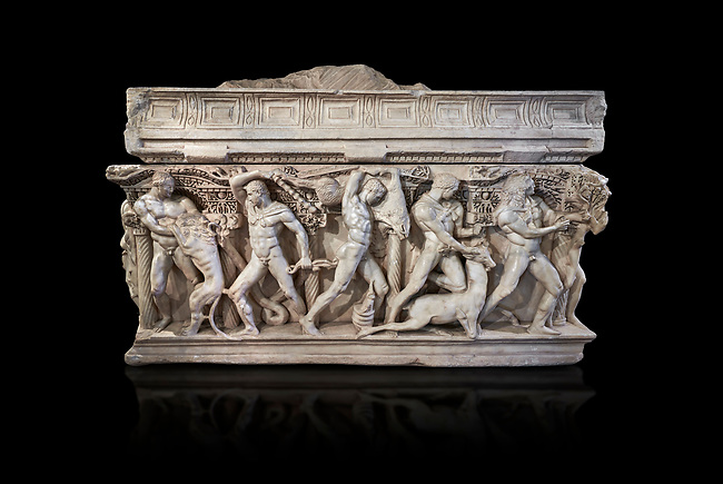 """Side panel of a Roman relief sculpted Hercules sarcophagus with kline couch lid, """"Columned Sarcophagi of Asia Minor"""" style typical of Sidamara, 250-260 AD, Konya Archaeological Museum, Turkey. Against a black background"""