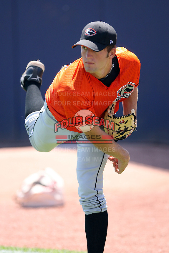 June 11th 2008:  Pitcher Aubrey Miller of the Delmarva Shorebirds, Class-A affiliate of the Baltimore Orioles, during a game at Classic Park in Eastlake, OH.  Photo by:  Mike Janes/Four Seam Images