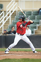 Michael Hickman (13) of the Kannapolis Intimidators at bat against the Rome Braves at Kannapolis Intimidators Stadium on April 7, 2019 in Kannapolis, North Carolina. The Intimidators defeated the Braves 2-1. (Brian Westerholt/Four Seam Images)
