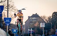 Wout van Aert (BEL/Jumbo-Visma) finishing third during his first race of the 20/21 cyclocross season at the 2020 Urban Cross Kortrijk (BEL)<br /> <br /> ©kramon