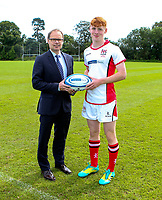 Monday 12th August 2019 | Ulster Schools U18<br /> <br /> Coleraine Grammar School and Ulster Schools U18 player Rory Telfer is pictured with Richard Caldwell representing the sponsors Danske Bank during a photo call at the Ulster Schools training base at Newforge Country Club, Belfast, Northern Ireland. Photo by John Dickson / DICKSONDIGITAL
