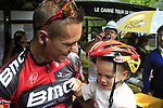 Philippe Gilbert (BEL) BMC Racing Team with son Alain in the Tour Village before the start of Stage 1 of the 99th edition of the Tour de France, running 198km from Liege to Seraing starting in Parc d'Avroy Liege, Belgium. 1st July 2012.<br /> (Photo by Eoin Clarke/NEWSFILE)