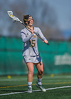 30 March 2016: University of Vermont Catamount Attacker Alex Bernier, a Junior from Falmouth, Maine, in first half action against the Manhattan College Jaspers at Virtue Field in Burlington, Vermont. The Lady Cats defeated the Jaspers 11-5 in non-conference play. Mandatory Credit: Ed Wolfstein Photo *** RAW (NEF) Image File Available ***