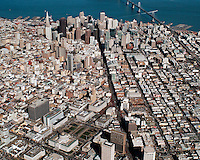 aerial photograph down Market Street from the Civic Center toward the financial district, San Francisco, California, 2004