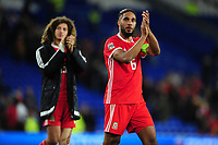 Ashley Williams of Wales applauds the fans at the final whistle during the UEFA Nations League B match between Wales and Ireland at Cardiff City Stadium in Cardiff, Wales, UK.September 6, 2018