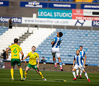12th September 2020 The John Smiths Stadium, Huddersfield, Yorkshire, England; English Championship Football, Huddersfield Town versus Norwich City;  Josh Koroma of Huddersfield Town rises high to head the ball