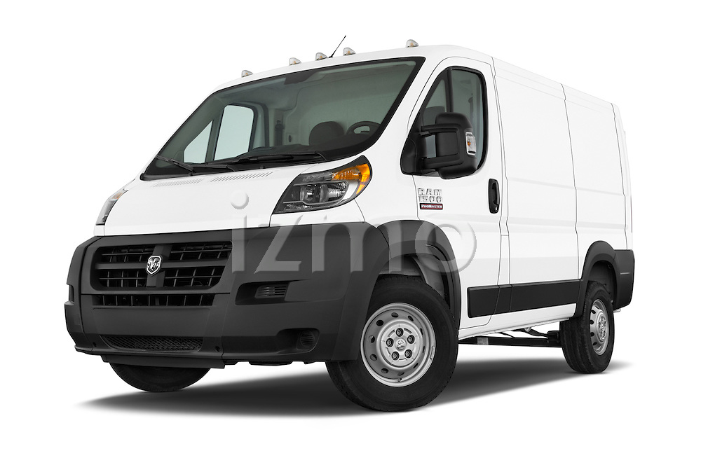 Stock pictures of low aggressive front three quarter view of a 2017 Ram ProMaster 1500 118 WB Low Roof 2 Door Cargo Van