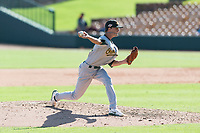 Mesa Solar Sox relief pitcher Calvin Coker (44), of the Oakland Athletics organization, delivers a pitch during an Arizona Fall League game against the Glendale Desert Dogs at Camelback Ranch on October 15, 2018 in Glendale, Arizona. Mesa defeated Glendale 8-0. (Zachary Lucy/Four Seam Images)