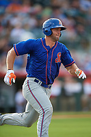 St. Lucie Mets left fielder Tim Tebow (15) runs to first base after hitting a double in the top of the eighth inning during a game against the Florida Fire Frogs on July 23, 2017 at Osceola County Stadium in Kissimmee, Florida.  St. Lucie defeated Florida 3-2.  (Mike Janes/Four Seam Images)