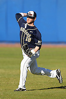 Pittsburgh Panthers Steven Shelinsky Jr #18 during a game vs. the Central Michigan Chippewas at Chain of Lakes Park in Winter Haven, Florida;  March 11, 2011.  Pittsburgh defeated Central Michigan 19-2.  Photo By Mike Janes/Four Seam Images