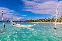 Hammock in turquoise lagoon with palm tree beach view in Bora Bora, romantic honeymoon destination, near Tahiti, French Polynesia, Pacific Ocean
