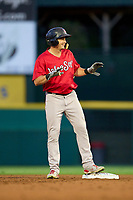 Worcester Red Sox Tate Matheny (35) calls time after hitting a double during a game against the Rochester Red Wings on September 3, 2021 at Frontier Field in Rochester, New York.  (Mike Janes/Four Seam Images)