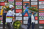 World Champion Julian Alaphilippe (FRA) Deceuninck-Quick Step wins with Slovenian Champion Primoz Roglic (SLO) Jumbo-Visma in 2nd place and Alejandro Valverde (ESP) Movistar Team on the podium in 3rd place at the end of the 2021 Flèche-Wallonne, running 193.6km from Charleroi to Huy, Belgium. 21st April 2021.  <br /> Picture: Serge Waldbillig | Cyclefile<br /> <br /> All photos usage must carry mandatory copyright credit (© Cyclefile | Serge Waldbillig)