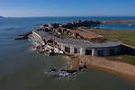 Pictured: The damage at Hurst Castle near Lynmington, Hants today. <br /> <br /> The wall of a 16th Century castle built by Henry VIII has collapsed.   A section of historic Hurst Castle's east wing tumbled after the sea weakened its foundations, according to English Heritage.<br /> <br /> Engineers are now assessing the damage to the 573 year old building near Lymington, Hants, and are planning remedial works.   The site was closed to the public at the time of the collapse on Friday afternoon and there were no injuries.   SEE OUR COPY FOR DETAILS<br /> <br /> <br /> © Jordan Pettitt/Solent News & Photo Agency<br /> UK +44 (0) 2380 458800