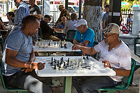 Miami, Florida.  Playing Chess at Cuban Gathering Place on Calle Ocho, Little Havana.