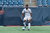FOXBOROUGH, MA - JULY 25: USL League One (United Soccer League) match. Illal Osumanu #28 of Union Omaha controls the ball during a game between Union Omaha and New England Revolution II at Gillette Stadium on July 25, 2020 in Foxborough, Massachusetts.