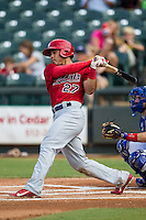 Memphis Redbirds outfielder Thomas Pham (27) follows through on his swing during the second game of a Pacific Coast League doubleheader against the Round Rock Express on August 3, 2014 at the Dell Diamond in Round Rock, Texas. The Redbirds defeated the Express 7-6. (Andrew Woolley/Four Seam Images)