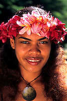 Native Woman with Flowers Coral Coast in the Fiji Islands